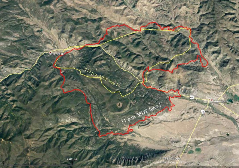 Map of the Ute Park Fire