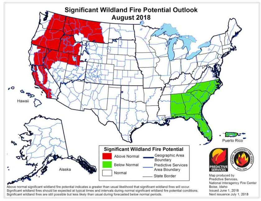 wildfire potential outlook map August
