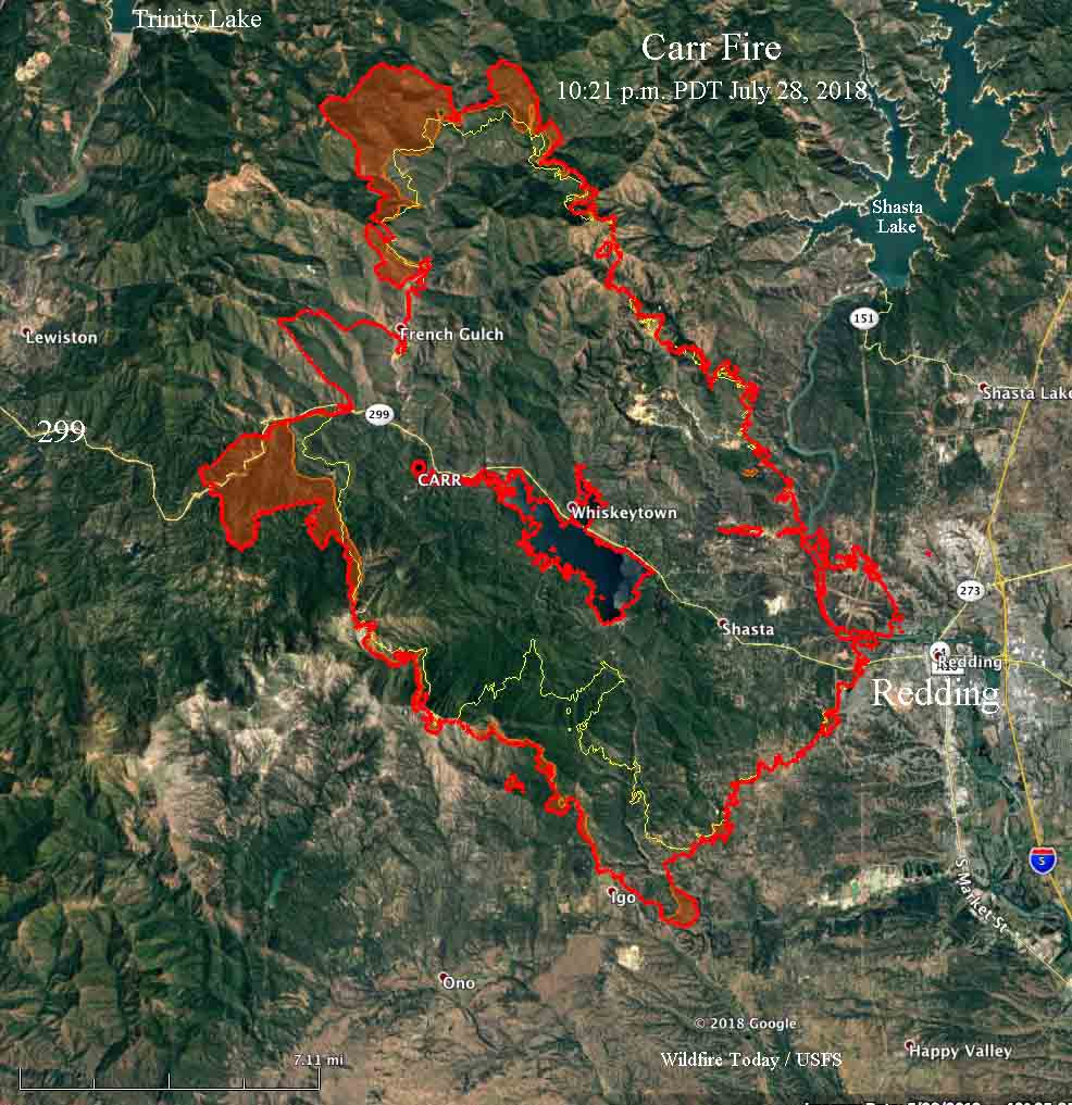 Carr Fire Still Spreading But Away From Redding Wildfire Today