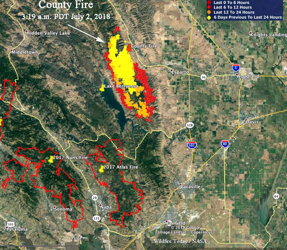 County Fire roars through the hills above Lake Berryessa ...