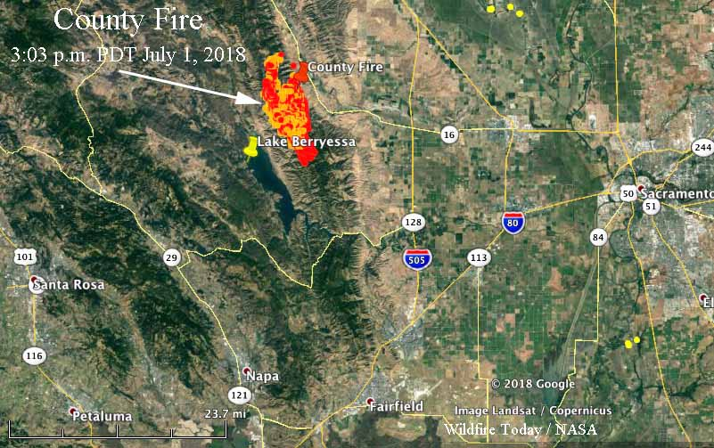 Fire Map California July 2018.County Fire Roars Through The Hills Above Lake Berryessa Wildfire