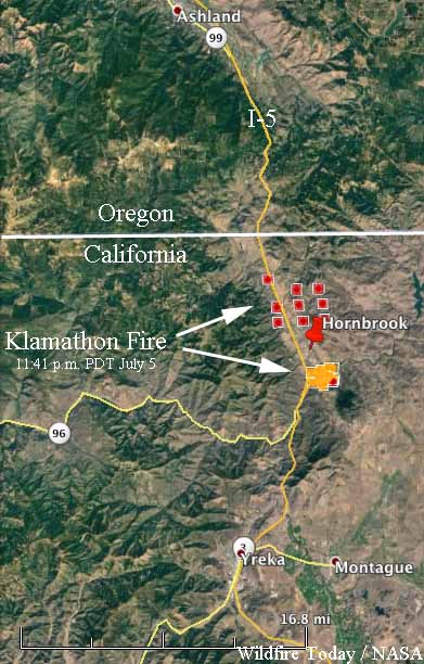 Klamathon Fire Burns Into Hornbrook California Closes I 5