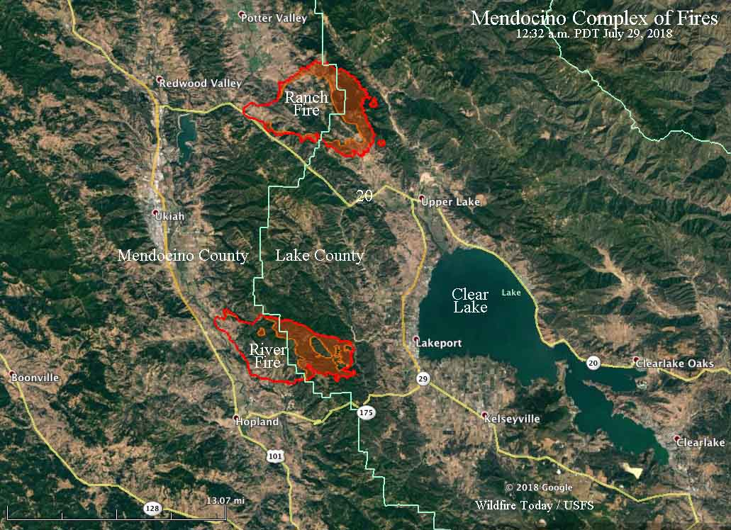 Mendocino Complex Of Fires Tripled In Size Saturday Wildfire Today