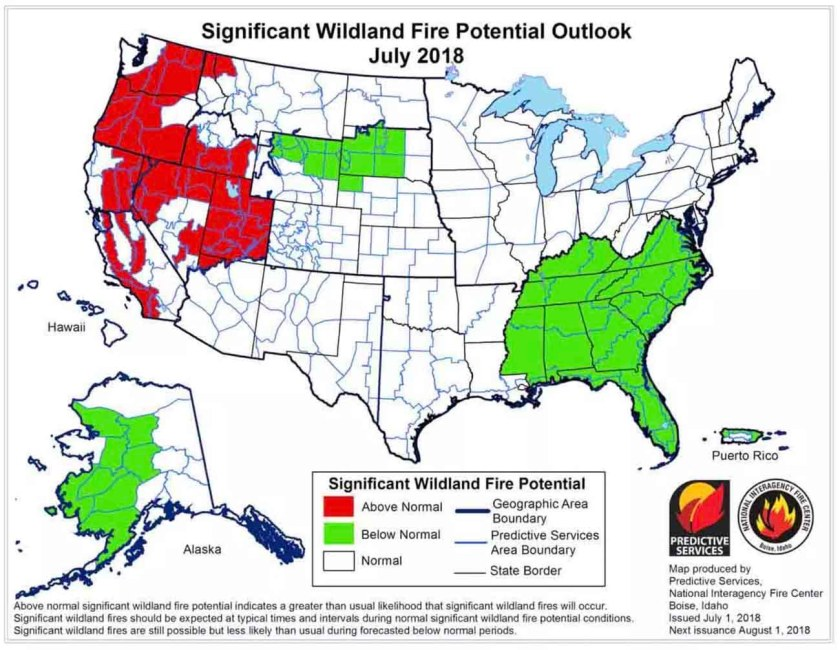 wildfire potential july 2018