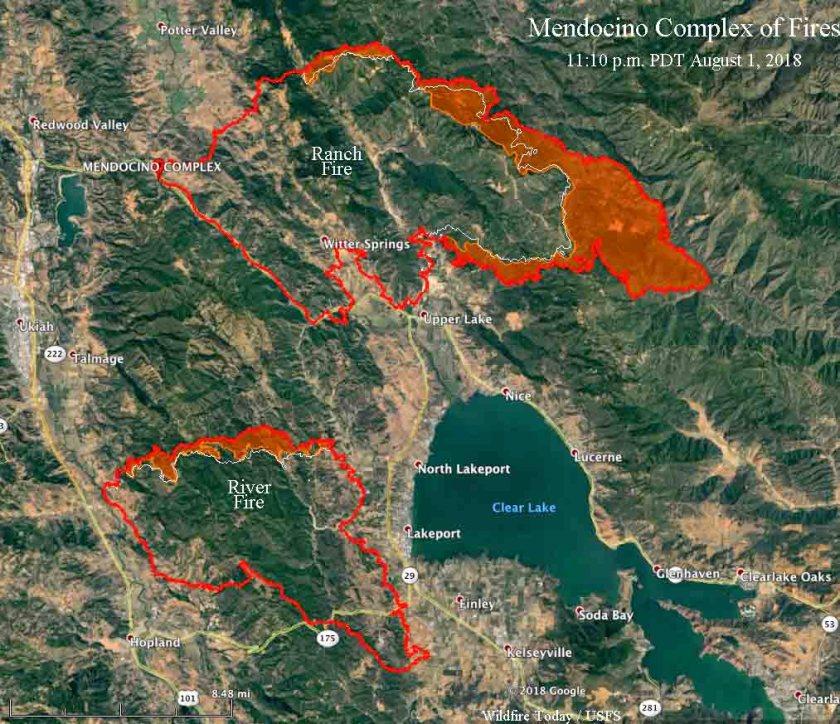 map Mendocino Complex River Fire Ranch fire