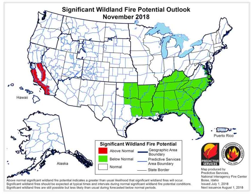 November 2018 wildfire potential