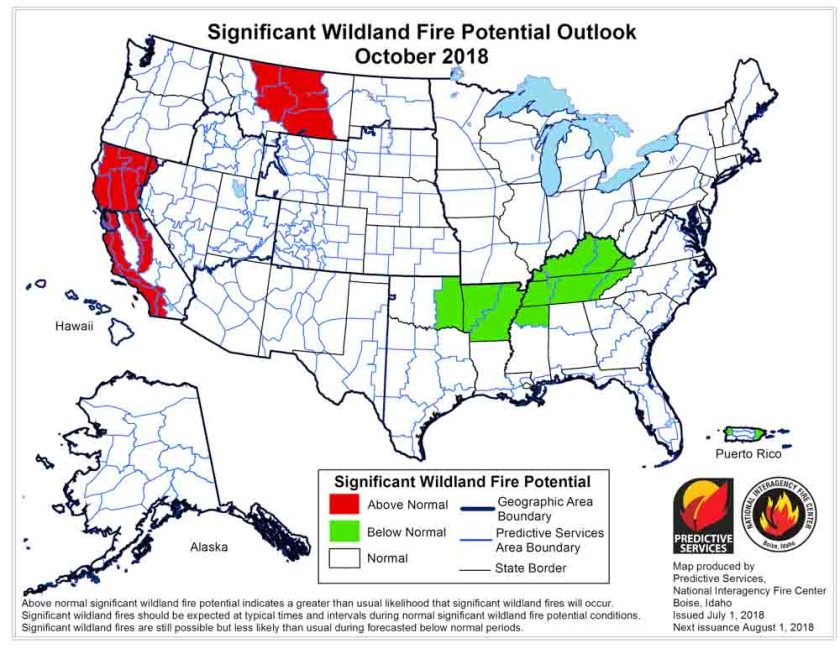 October 2018 wildfire potential
