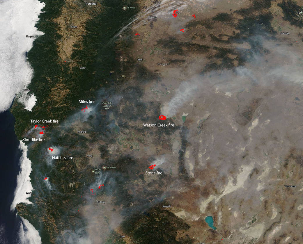 map fires oregon california