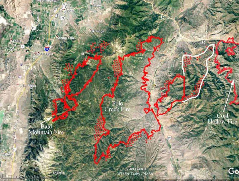 map coal hollow fire bald mountain pole creek utah wildfires