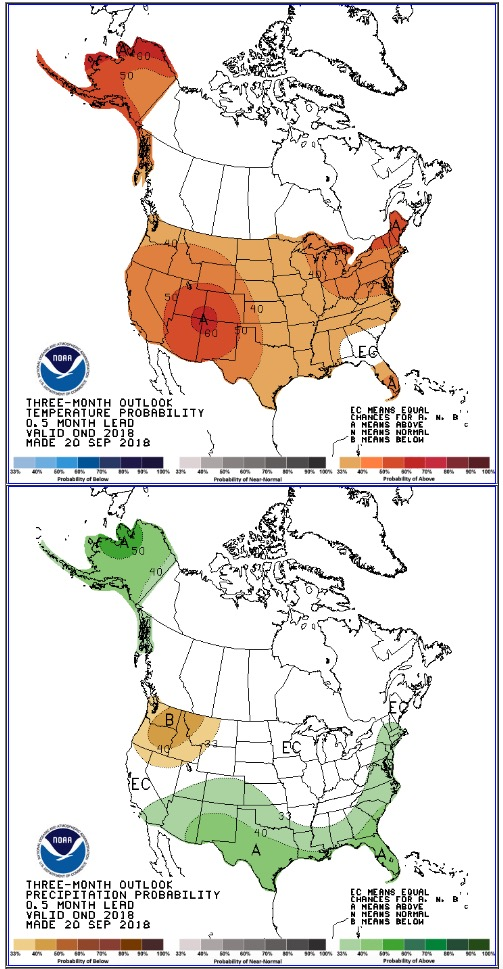 Most of U S  predicted to have above normal temperatures the
