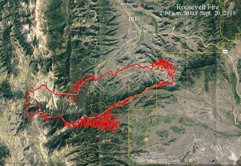 map Roosevelt Fire Wyoming