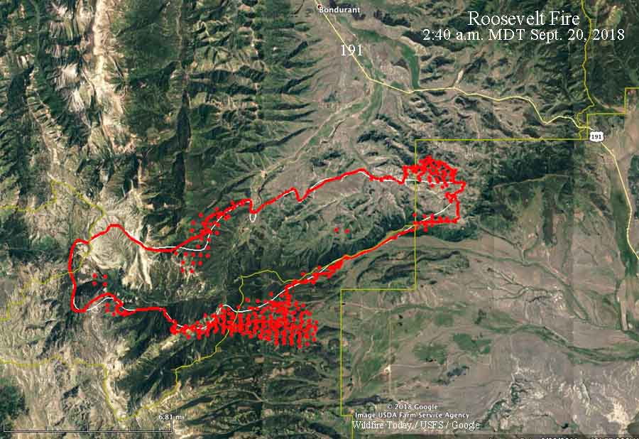 Bondurant Wyoming Map.Roosevelt Fire In Western Wyoming Grows To Over 31 000 Acres
