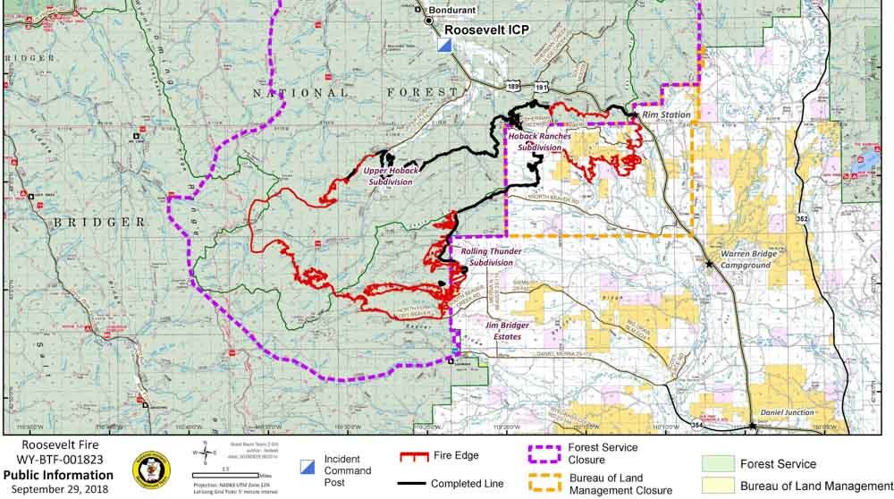 Bondurant Wyoming Map.Firefighters Making Progress On Roosevelt Fire In Wyoming Wildfire