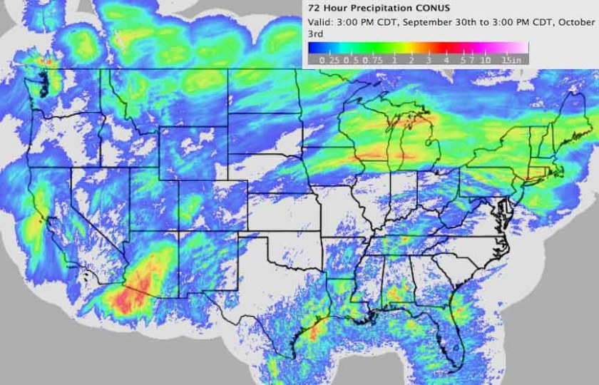 Precipitation last 72 hours