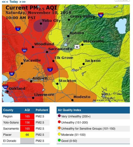 Wildfire smoke map November 10, 2018 - Wildfire Today