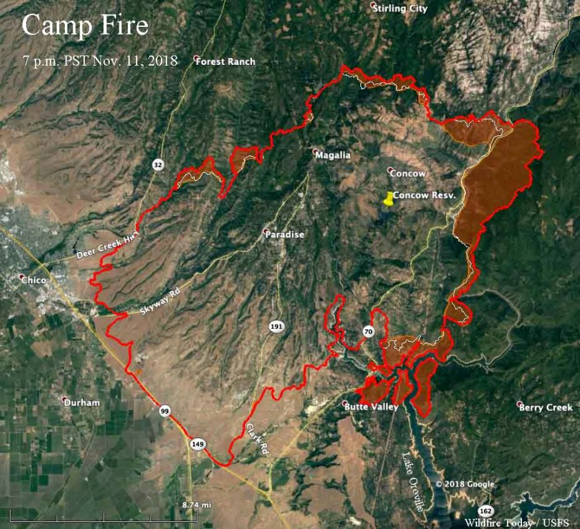map Camp Fire Paradise California wildfire