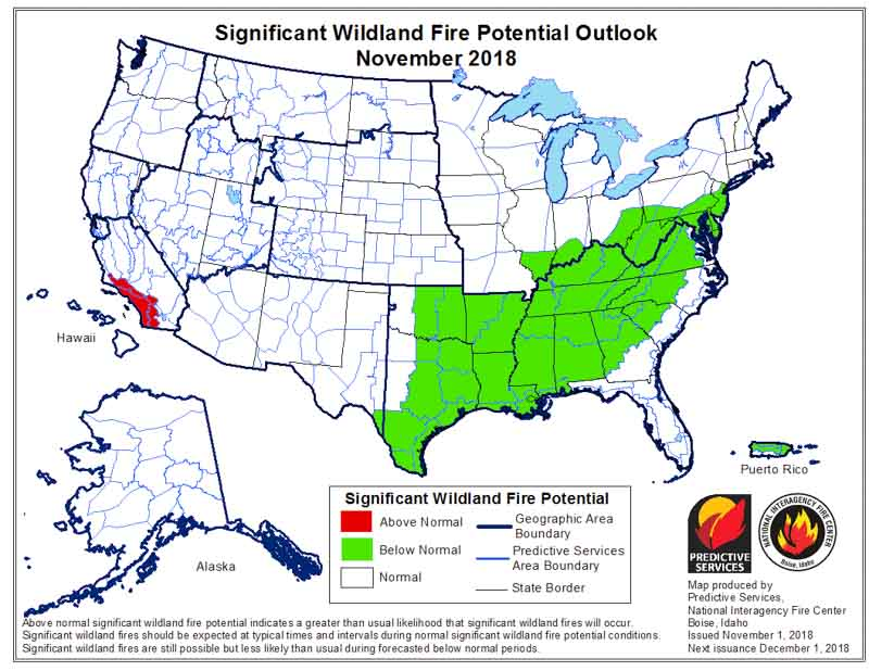 November wildfire outlook weather