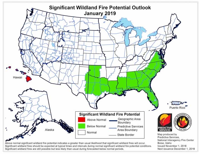 January wildfire outlook weather