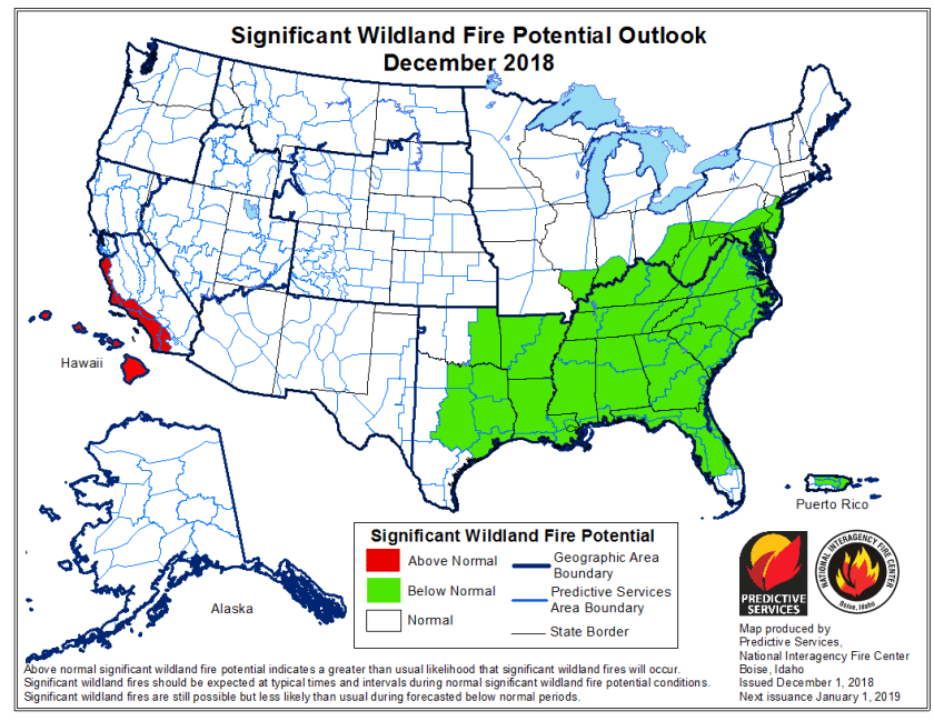 December wildfire outlook potential