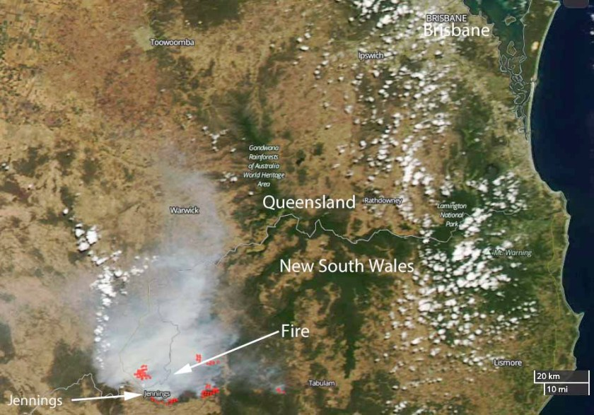 Wallangarra Fire map