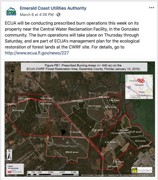 ECUA prescribed fire announcement