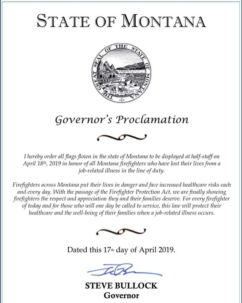 Governor Proclamation Montana firefighters