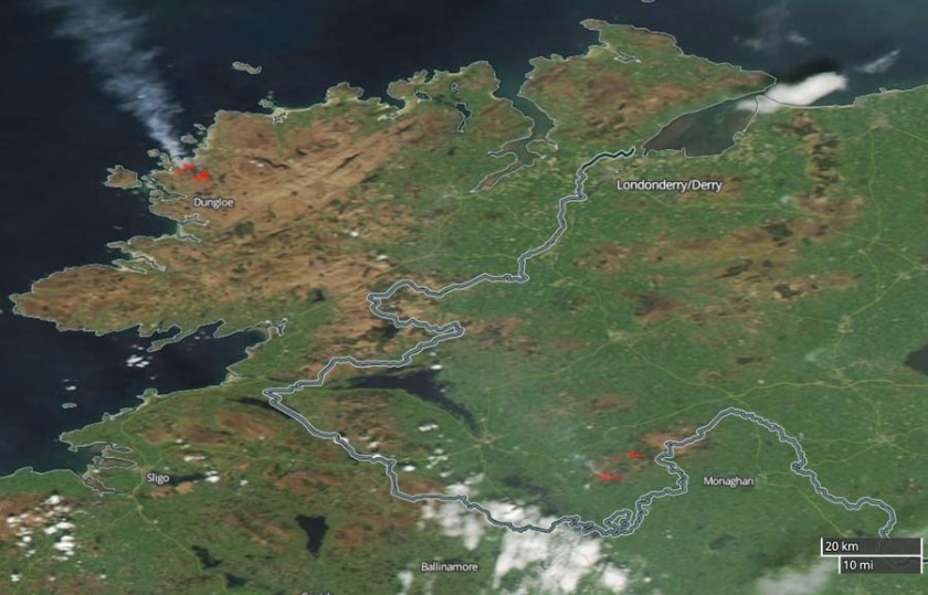 wildfire in northwest Ireland map