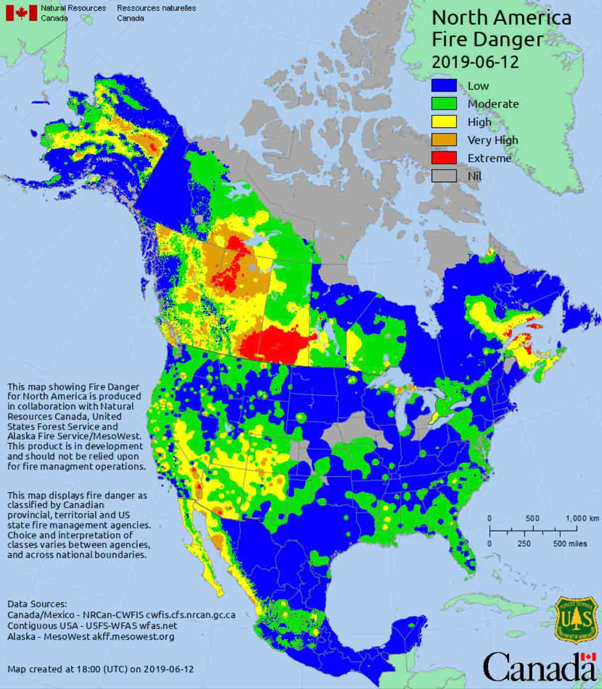 Canada Map Of States.Interpreting Wildland Fire Danger U S And Canada Wildfire Today