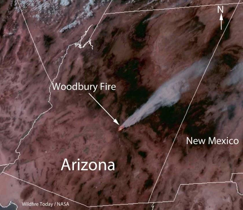 Satellite photo of smoke from Woodbury Fire