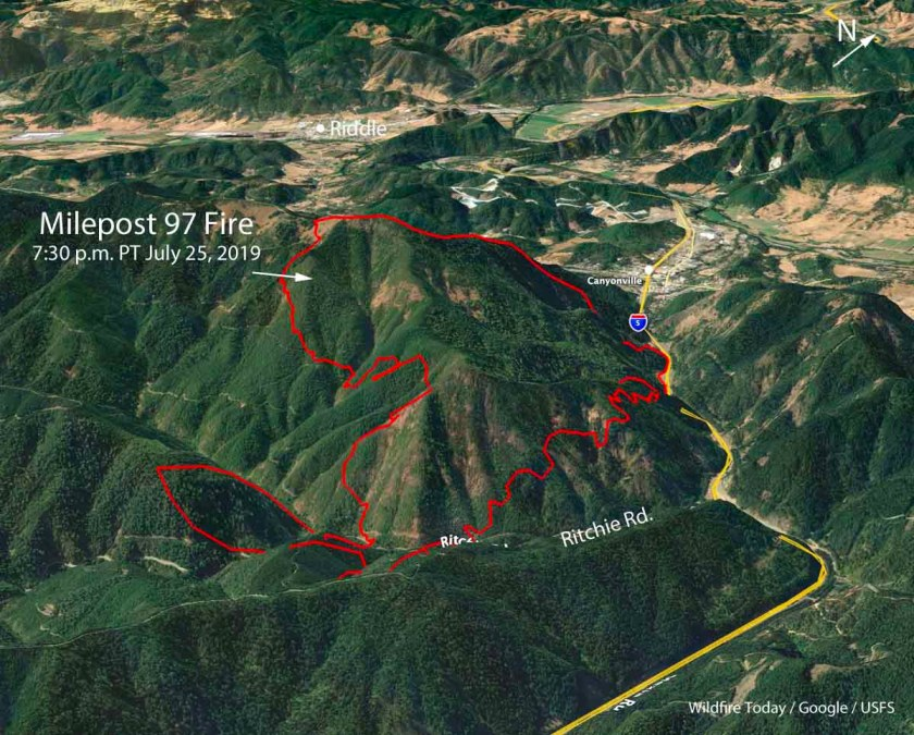 Canyonville Oregon Map Milepost 97 Fire burns over 1,600 acres just south of Canyonville