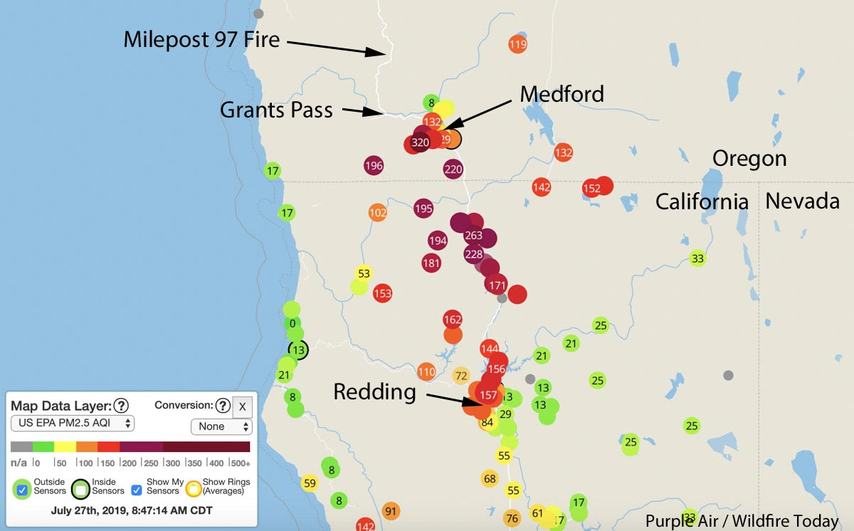 Map Of California To Oregon.Smoke From Milepost 97 Fire Spreads In Southern Oregon And Northern
