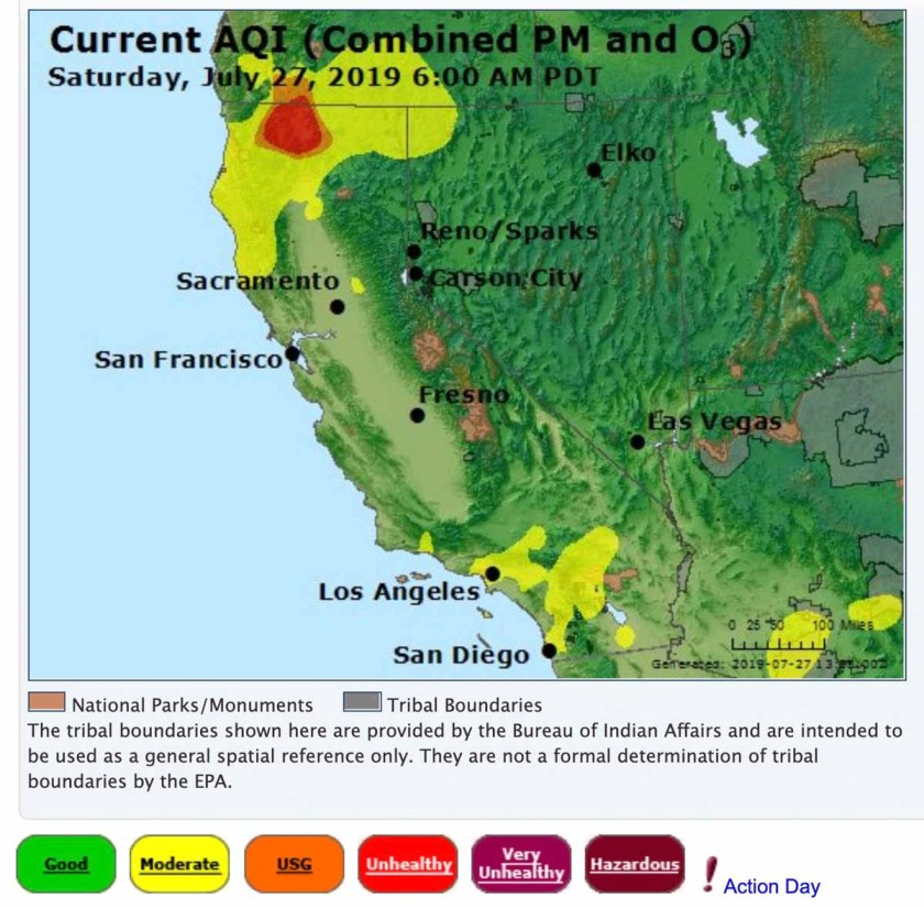 smoke air quality Milepost 97 fire Oregon California