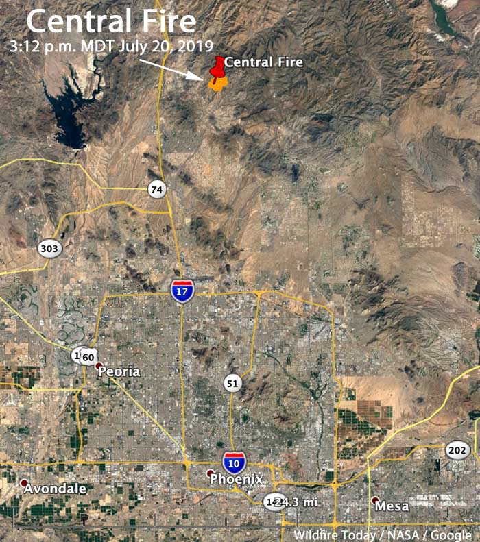Map Arizona location Central Fire