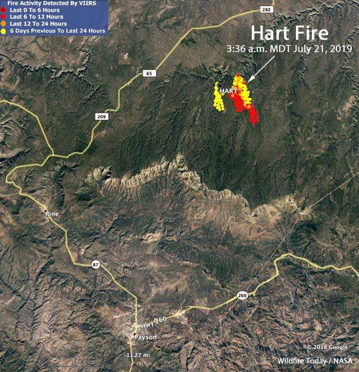 Map Of Young Arizona.The Hart Fire Is Being Allowed To Burn Northeast Of Payson Arizona