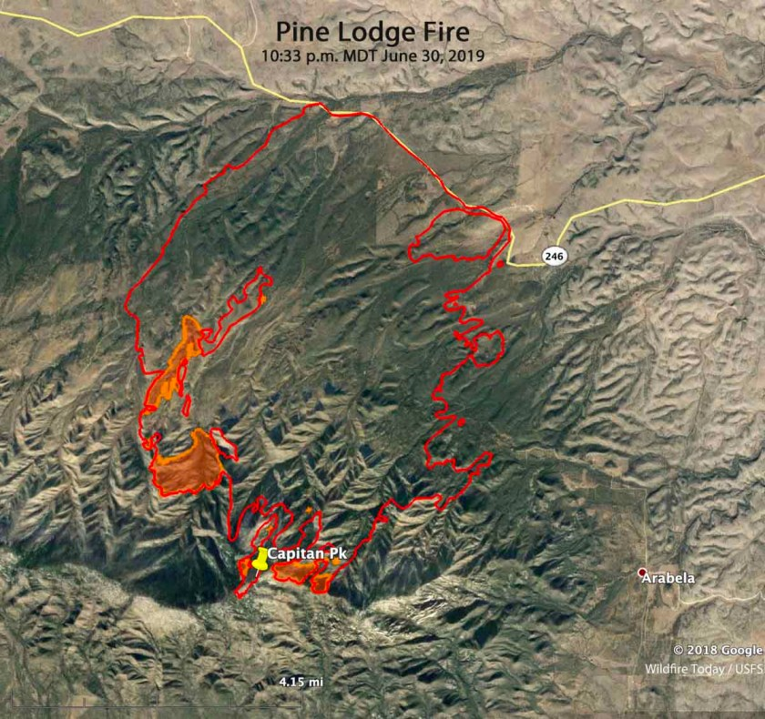 Pine Lodge Fire map