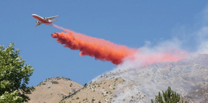 Round Peak Fire air tanker drop Utah