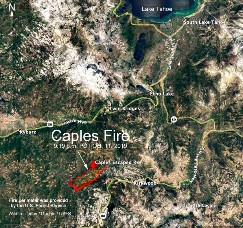Caples fire map