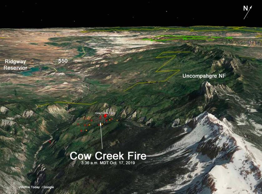 map Cow Creek Fire
