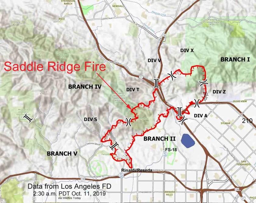 Saddle Ridge Fire map