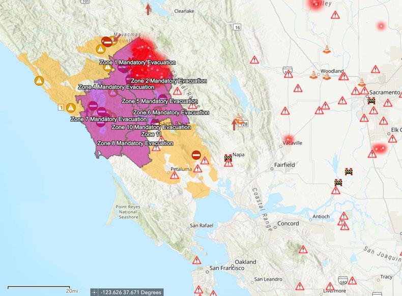 Evacuation zones Kincade Fire