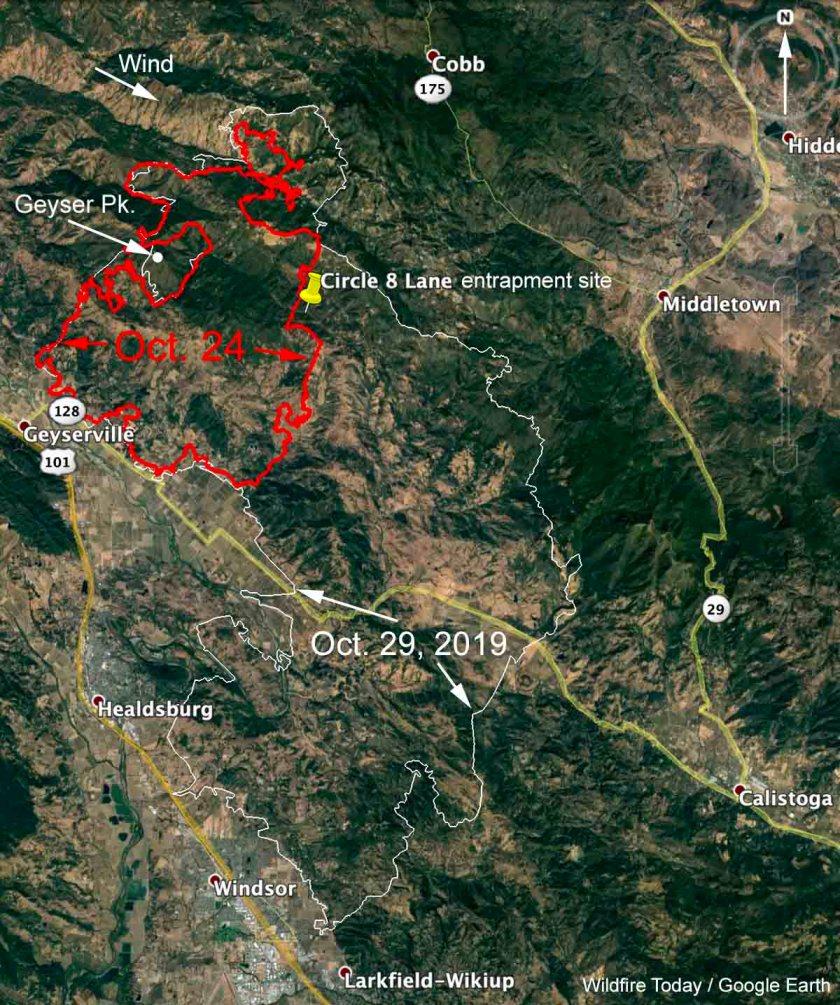 map Kincade Fire entrapment deployment