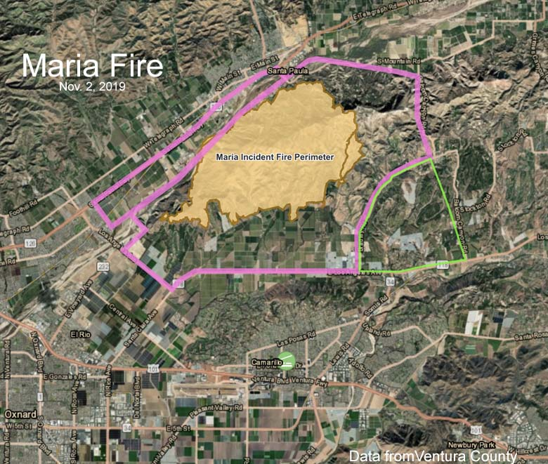 Map of the Maria Fire