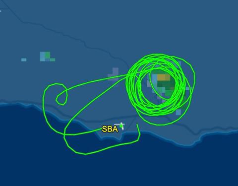 flight path N4717V fire mapping