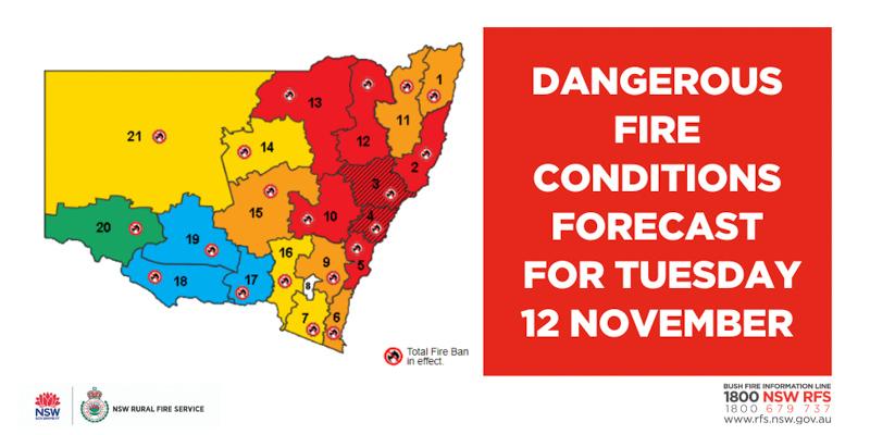 New South Wales bushfire danger November 12, 2019