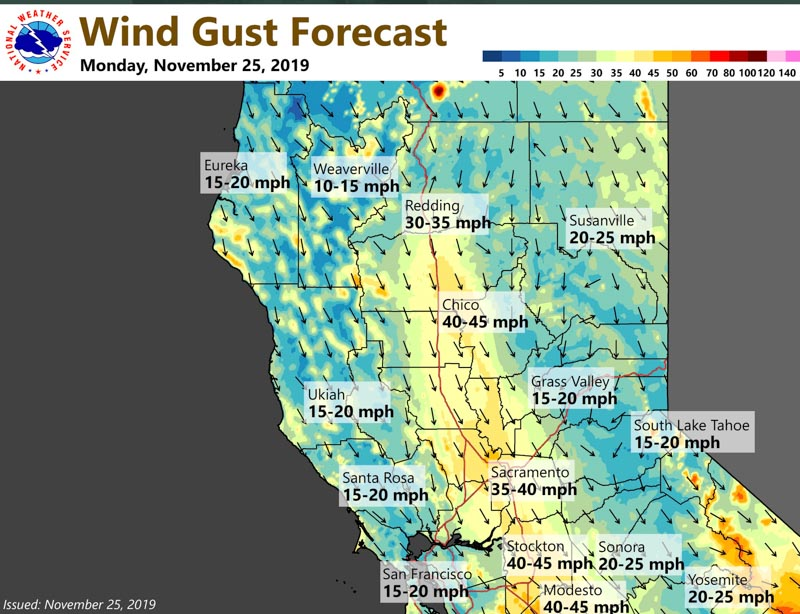 strong wind forecast northern california