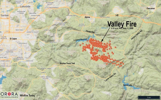 Map of the Valley Fire Alpine California San Diego