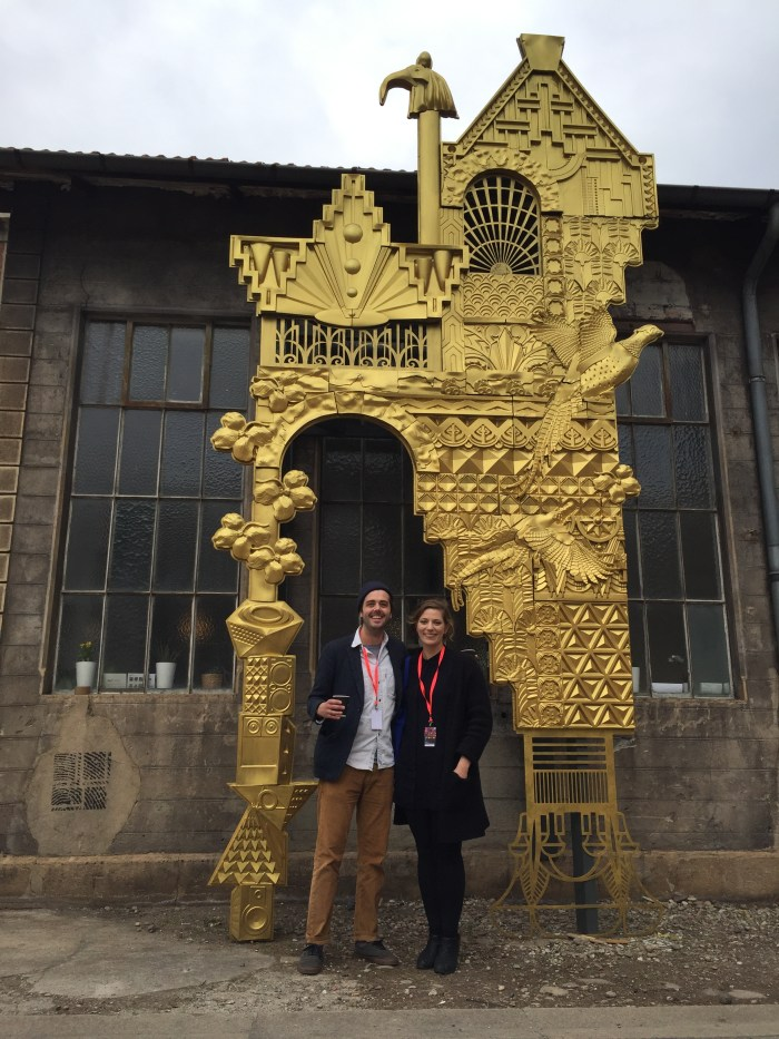 Ben and Ellen outside the pop-up Detroit Cafe