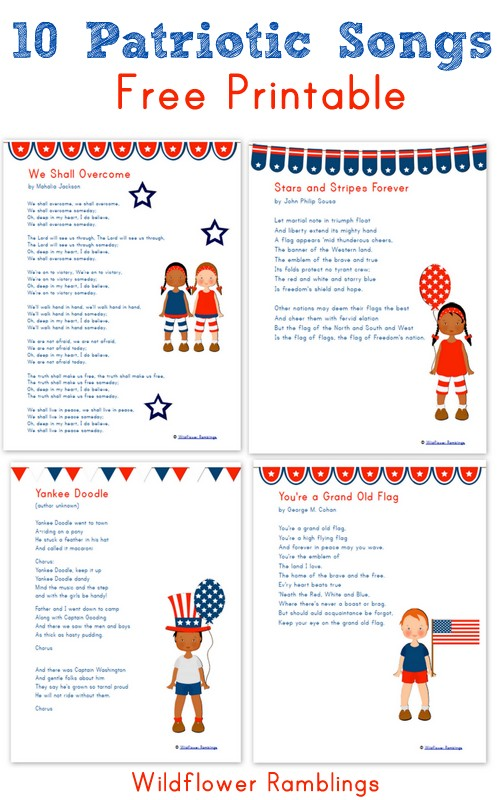 10 Patriotic Songs for Children {free printable ...