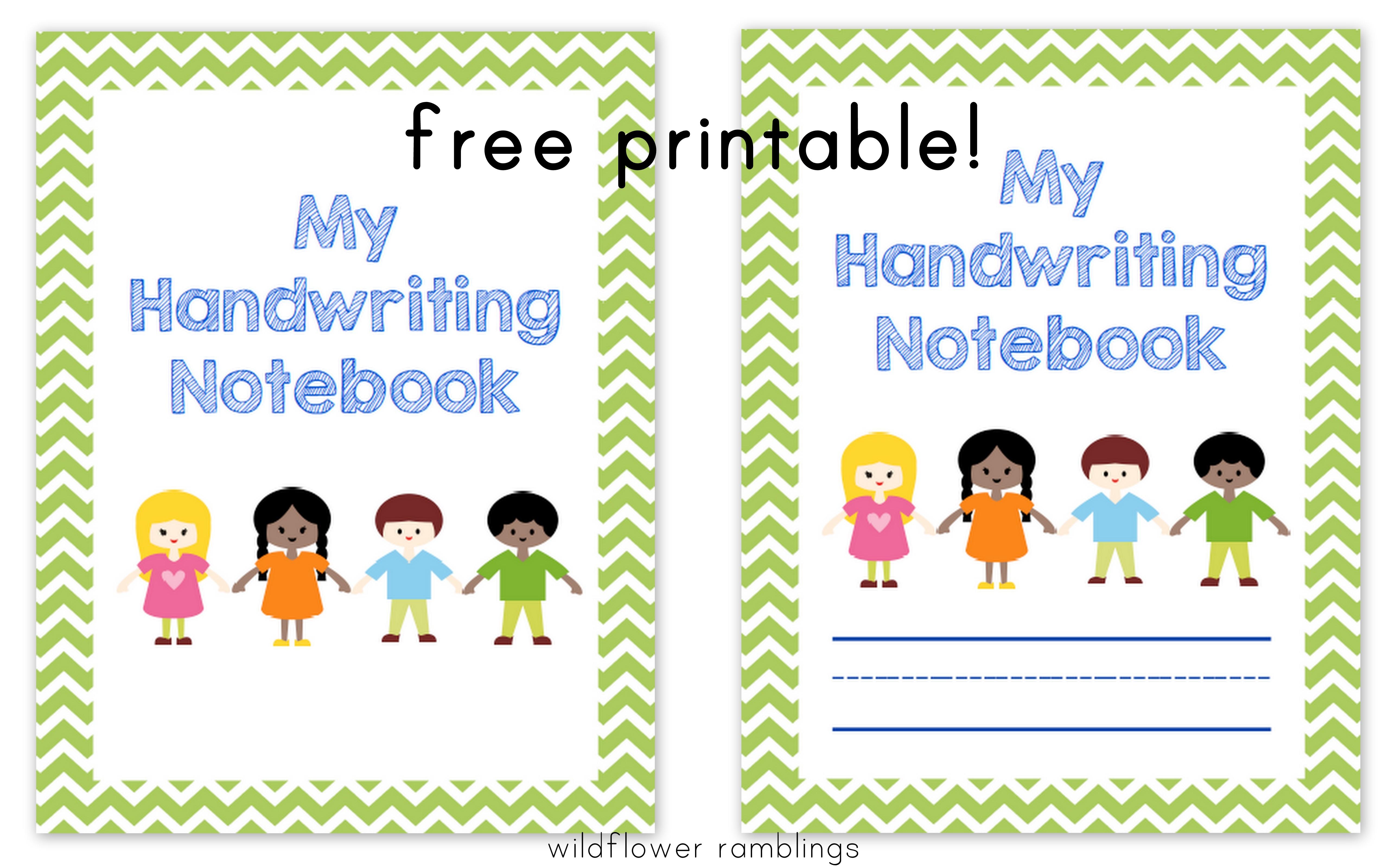 Preschool Handwriting Notebook Free Printable