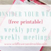 Consider Your Week: Weekly Prep and Weekly Meetings {free printable}